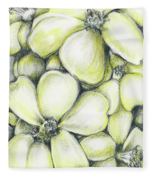Yellow Flowers Pencil Fleece Blanket
