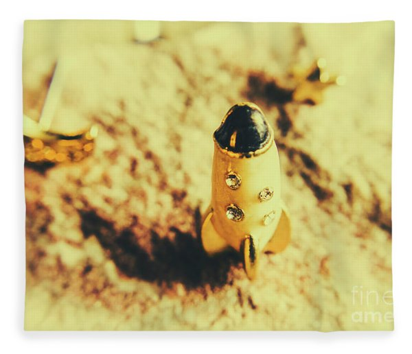 Yellow Rocket On Planetoid Exploration Fleece Blanket