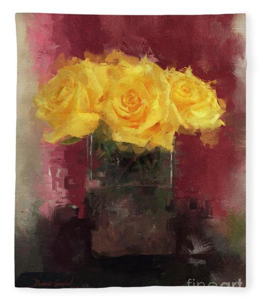 Yellow Roses Fleece Blanket