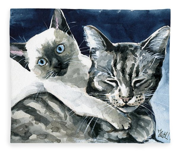 You Are Mine - Cat Painting Fleece Blanket