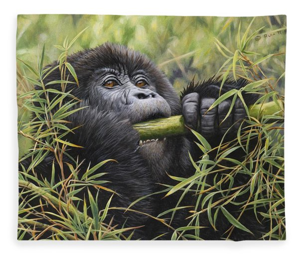 Fleece Blanket featuring the painting Young Mountain Gorilla by Alan M Hunt