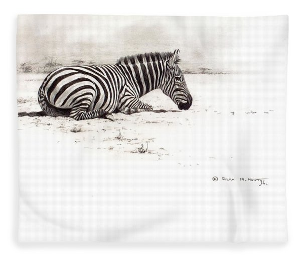 Fleece Blanket featuring the painting Zebra Sketch by Alan M Hunt