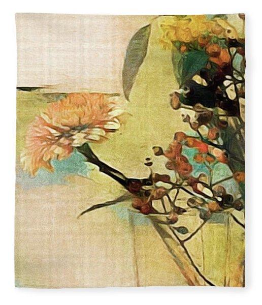 Fleece Blanket featuring the mixed media Zinnias From The Garden by Susan Maxwell Schmidt
