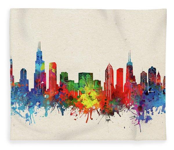 Chicago Skyline Watercolor Fleece Blanket