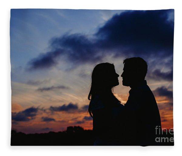 Couple With Cloud Sky Backlight Fleece Blanket