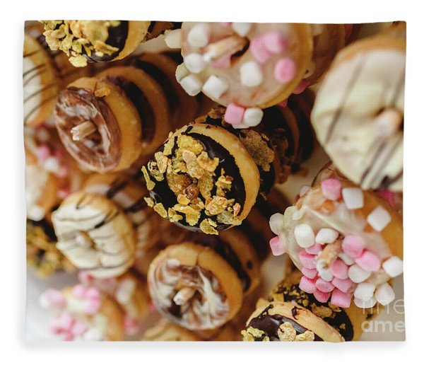 Donuts Of Different Flavors, To Put On An Unhealthy Diet Fleece Blanket