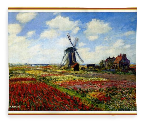 Dutch Windmill And Tulip Field - After The Style, Manner And Painting By Claude Monet L B Fleece Blanket