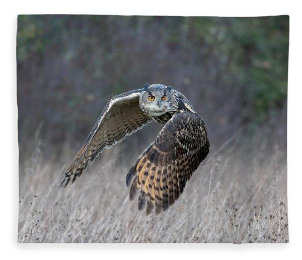 Eurasian Eagle Owl Flying Fleece Blanket