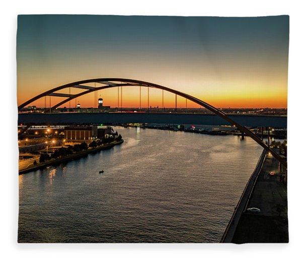 Hoan Bridge At Dusk Fleece Blanket