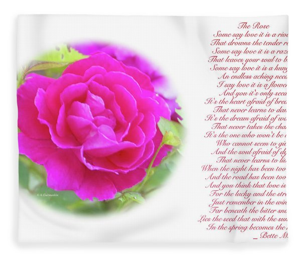 Pink Rose And Song Lyrics Fleece Blanket