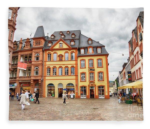 Trier, Germany,  People By Market Day Fleece Blanket