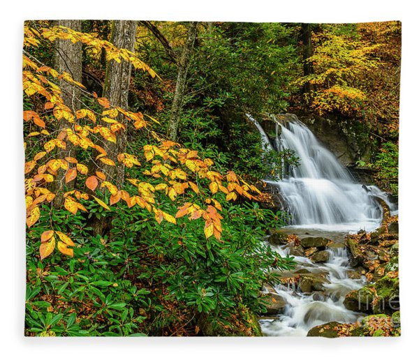 Waterfall And Fall Color Fleece Blanket