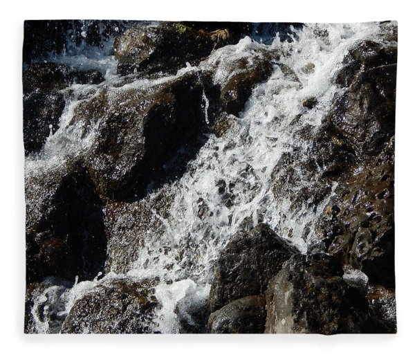Waterfall In The Garden And Water Fountains Fleece Blanket