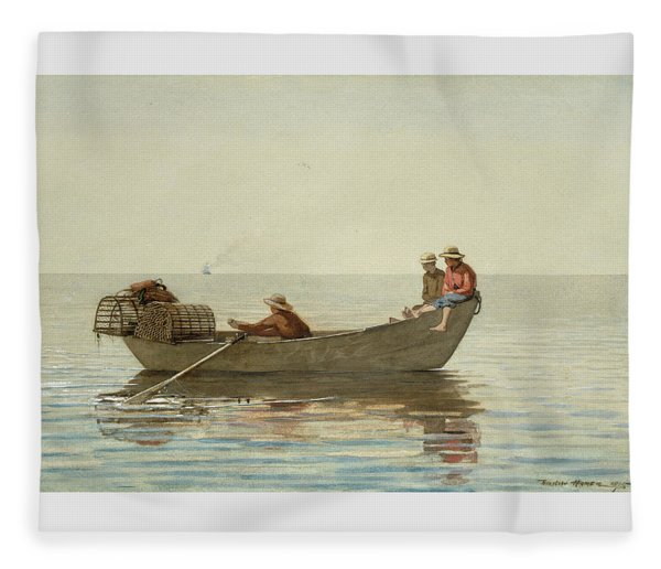 Three Boys In A Dory With Lobster Pots -  Fleece Blanket