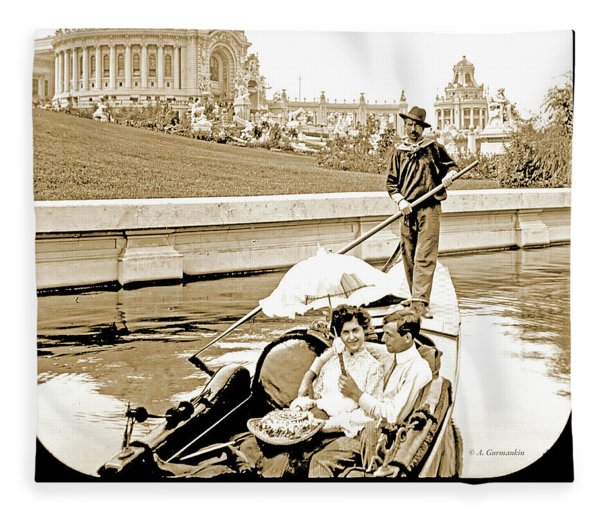 1904 Worlds Fair, Sighteeing Boat, Oarsman And Couple Fleece Blanket