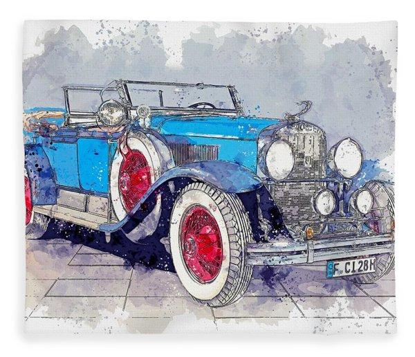 1928 Cadillac Dual Cowl 341 A Dual Cowl Sport Phaeton Watercolor By Ahmet Asar Fleece Blanket