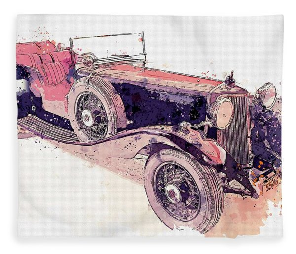 1934 Armstrong Siddeley Special Cabriolet 30hp Open Tourer Watercolor By Ahmet Asar Fleece Blanket