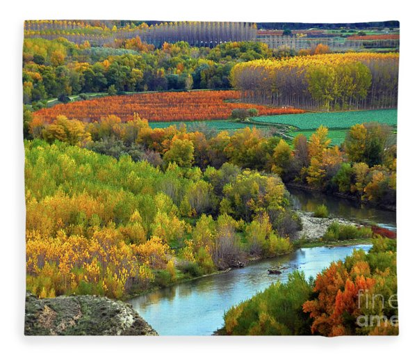 Autumn Colors On The Ebro River Fleece Blanket