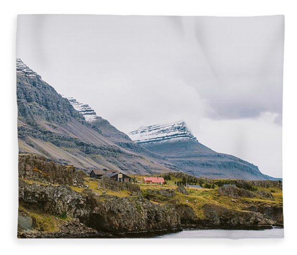 High Icelandic Or Scottish Mountain Landscape With High Peaks And Dramatic Colors Fleece Blanket