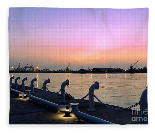 Kaohsiung Port At Dusk Fleece Blanket
