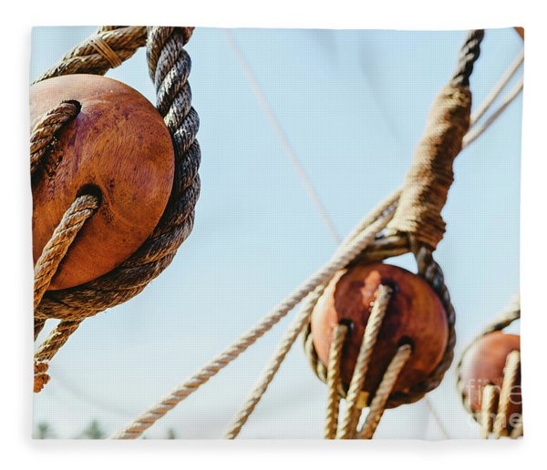Rigging And Ropes On An Old Sailing Ship To Sail In Summer. Fleece Blanket