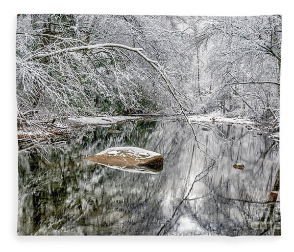 Snow Along Cranberry River Fleece Blanket