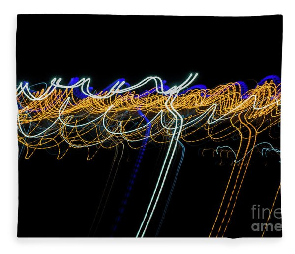 Colorful Light Painting With Circular Shapes And Abstract Black Background. Fleece Blanket