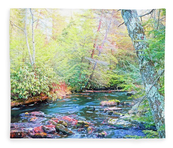 Pocono Mountain Stream, Pennsylvania Fleece Blanket