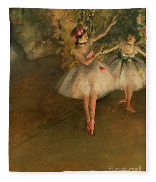 Two Dancers On A Stage Fleece Blanket