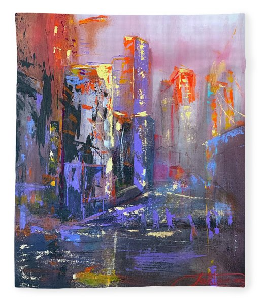 59th Street Bridge Sunrise Rain  Fleece Blanket