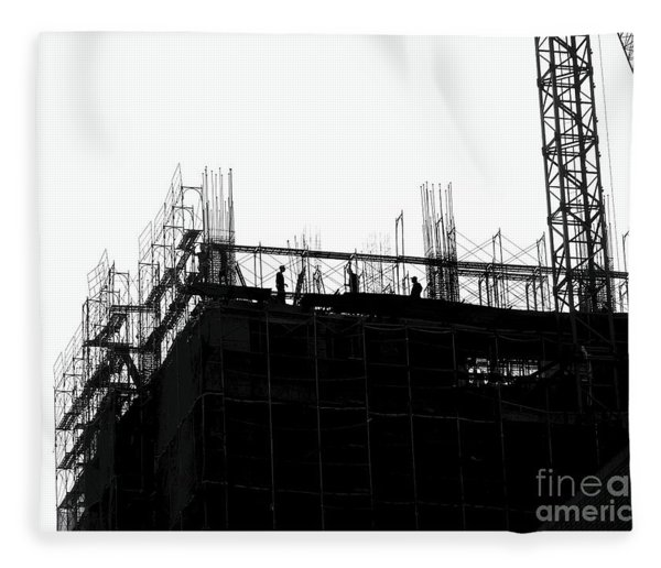 Large Scale Construction In Outline Fleece Blanket