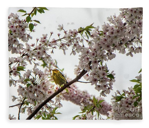 A Canary In A Cherry Tree  Fleece Blanket