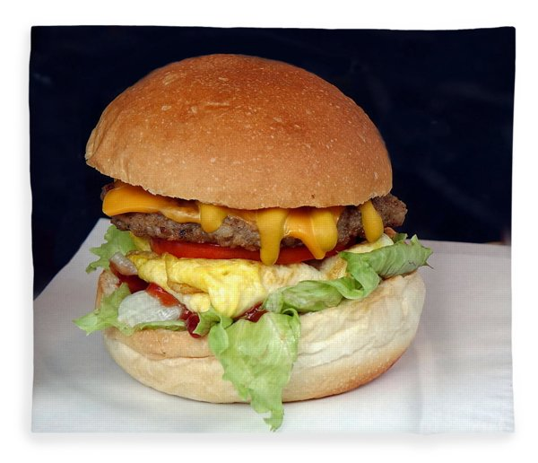 A Delicious Hamburger With Lettuce And Tomatoes Fleece Blanket