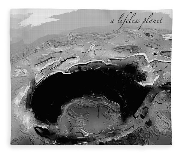 Fleece Blanket featuring the digital art A Lifeless Planet Black by ISAW Company