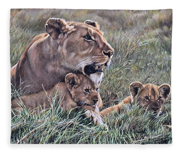 Fleece Blanket featuring the painting A Quiet Moment Lioness And Lion Cubs by Alan M Hunt