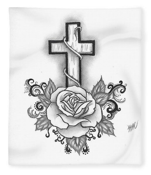 A Rose And A Cross Fleece Blanket