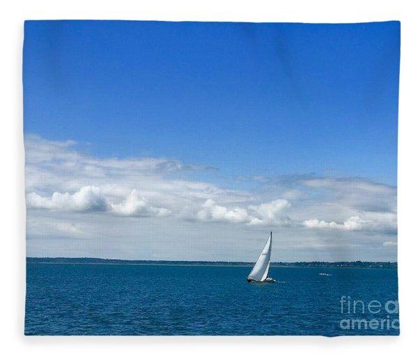 A Single Sailboat In Blue Fleece Blanket