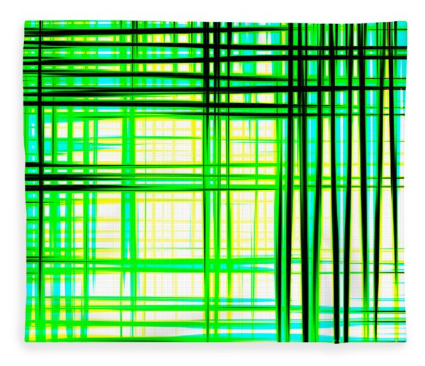 Abstract Design With Lines Squares In Green Color Waves - Pl409 Fleece Blanket