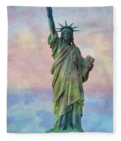 Abstract Sttue Of Liberty Painting V2 Fleece Blanket