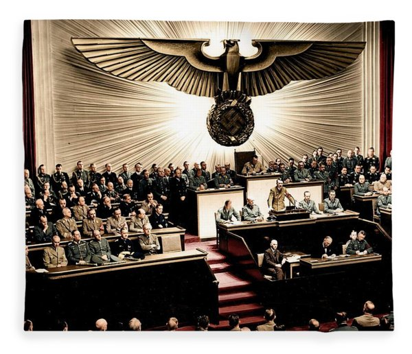 Adolf Hitler Declaring War On America  Dec  11th  1941 Fleece Blanket