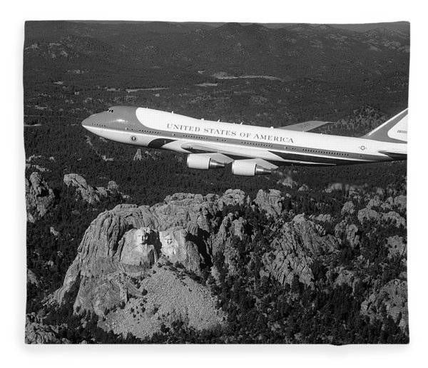 Air Force One Flying Over Mount Rushmore - 1990 Fleece Blanket