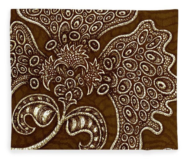 Fleece Blanket featuring the drawing Alien Bloom 6 by Amy E Fraser