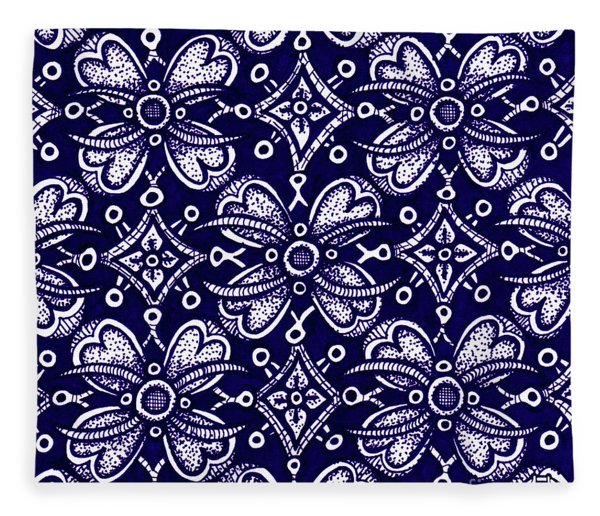 Fleece Blanket featuring the drawing Alien Bloom 9 by Amy E Fraser
