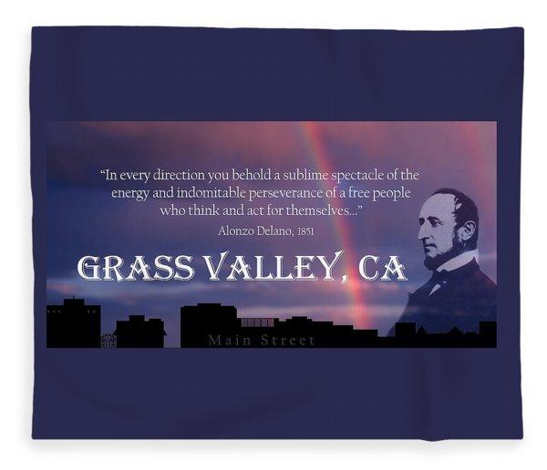 Alonzo Delano Grass Valley Quote Fleece Blanket