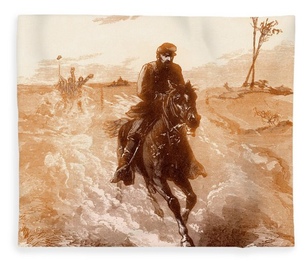 American Civil War Union General Philip Sheridan Rides To The Front Fleece Blanket