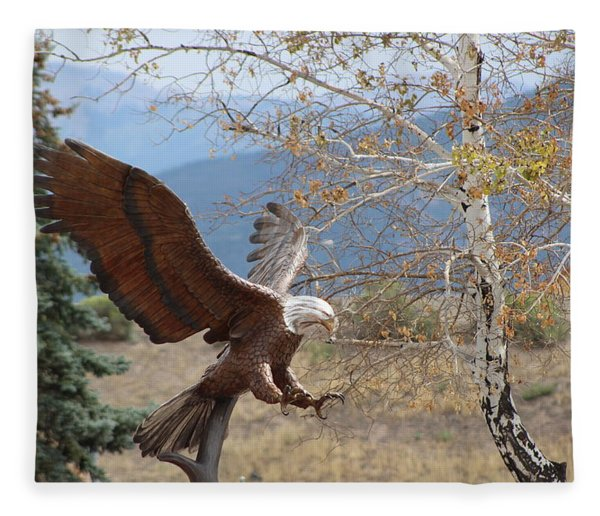 American Eagle In Autumn Fleece Blanket