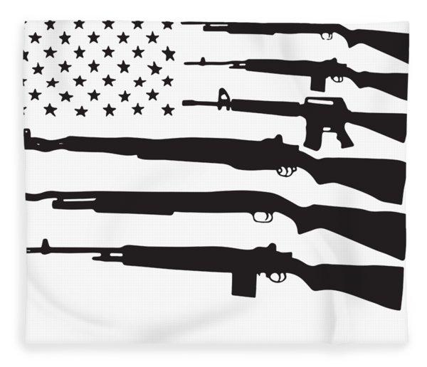 American Flag Guns Patriotic Usa Pride Gun Rights Nra Pro-veteran Fleece Blanket