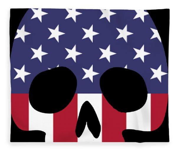 American Skull Skeleton Human Talent Confident Patriotic Fleece Blanket