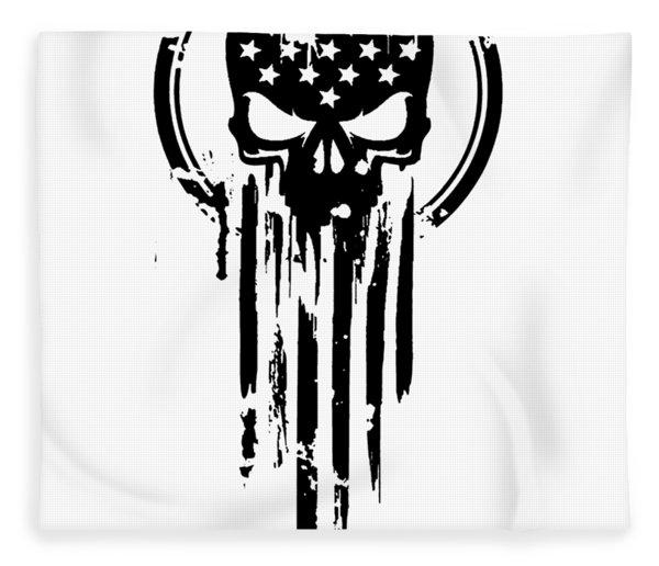 American Warrior Flag Skull Military Army Veteran Fleece Blanket