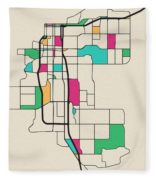 Anchorage, Alaska City Map Fleece Blanket